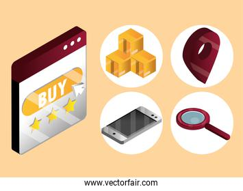 online shopping, website buy button with boxes delivery mobile location and search icons isometric