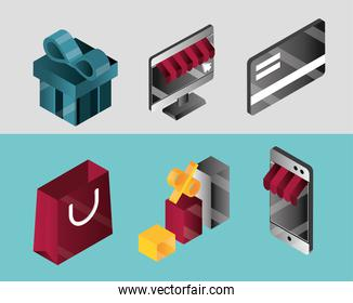 online shopping, set icons gift bank card bag smartphone store discount isometric