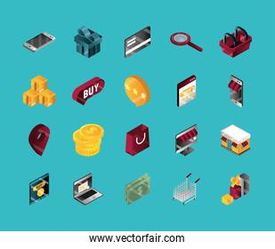 online shopping, set isometric icons, include smartphone gift bank card basket money buy and more isometric