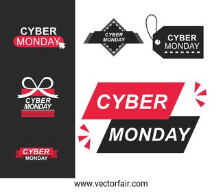 cyber monday, labels ecommerce and shopping related icons