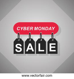 cyber monday, hanging tags price sale lettering, gray background