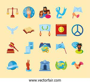 international human rights, justice peace equality freedom and more set icons detailed