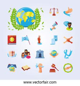 international human rights, collection icons world flag justice ribbon awareness detailed