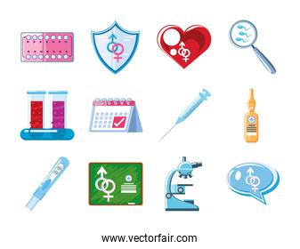 medical sexual health set icons microscope contraception pills calendar and more