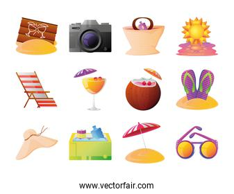 summer vacation travel, collection icons suitcase sandals umbrela sunglasses and more detailed style