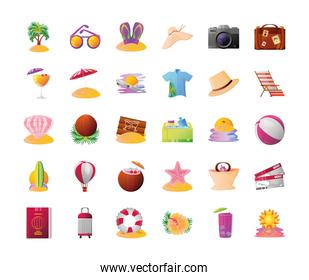summer vacation travel, contains such icons as palm sunglasses hat suitcase ball and more detailed style