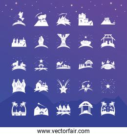 nativity, pack of icons manger holy family wise animals on blue background