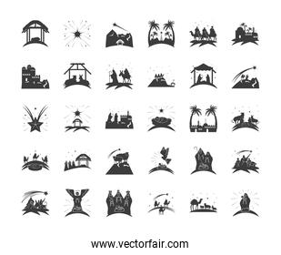 nativity, traditional celebration set icons of manger holy family and characters