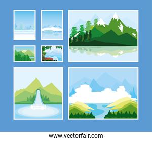 landscapes collection icons mountains nature river waterfall and winter