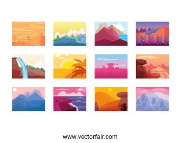landscape, set of mountains waterfall river sea field and more