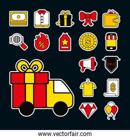 icon set of black friday and cargo truck, line and fill style