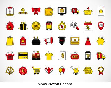 icon set of black friday, line and fill style