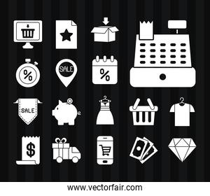 cash register and black friday icon set, silhouette style