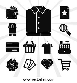 shopping basket and black friday icon set, silhouette style