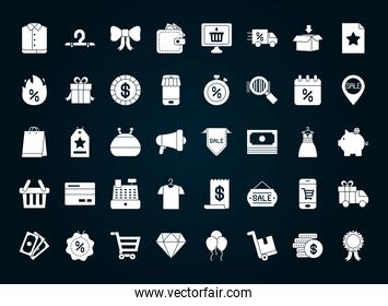 icon set of black friday, silhouette style