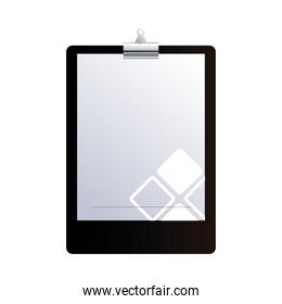 Clipboard with sheets of paper and folder