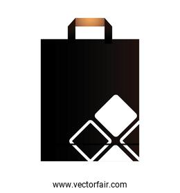 paper bag black with handle and corporate design