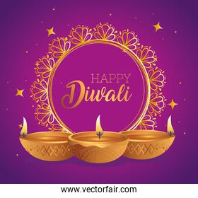 Happy diwali diya candles in front of circle ornament vector design