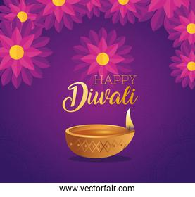 banner of Happy diwali diya candle with flowers