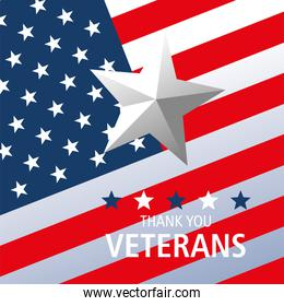 happy veterans day, star on american flag card