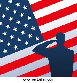 happy veterans day, soldier saluting on american flag