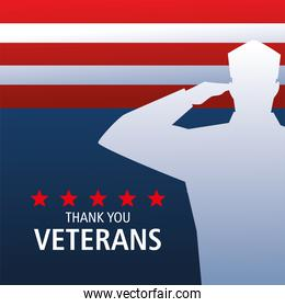happy veterans day, silhouette soldier saluting and flag