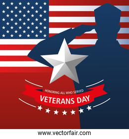 happy veterans day, military character star and american flag