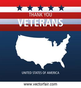 happy veterans day, silhouette map on american flag