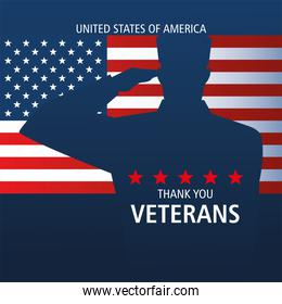 happy veterans day, thanks you, soldier salute on flag
