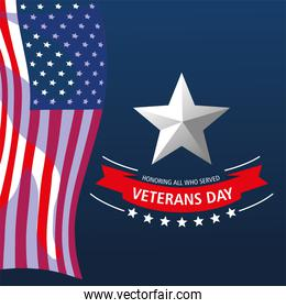 happy veterans day, hanging waving US flag and star card