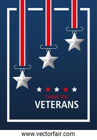 happy veterans day, thanks you card, medal stars patriotic symbol