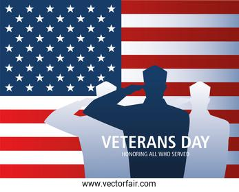 happy veterans day, soldiers saluting american flag national