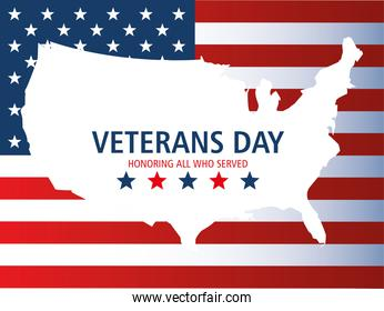 happy veterans day, map in silhouette with american flag and stars