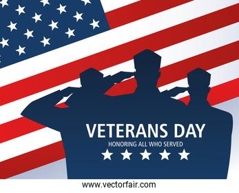 happy veterans day, american flag with soldiers in silhouette