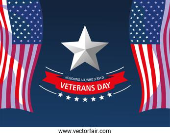 happy veterans day, waving flags star lettering and ribbon