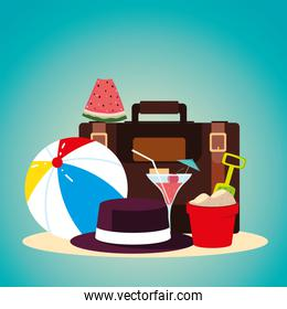 summer vacation travel, suitcase ball hat bucket watermelon and cocktail