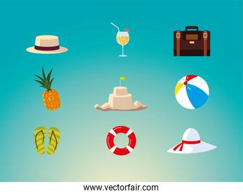 summer vacation travel, hat pineapple suitcase cocktail float sandcastle icons
