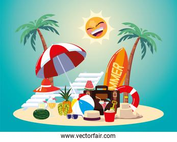 summer vacation travel, tropical plants and beach ball umbrella bag cocktail and more