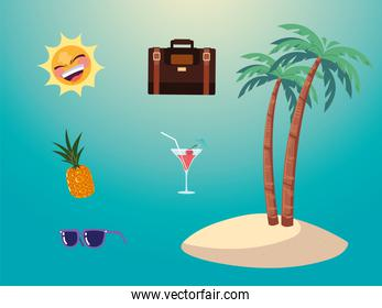summer vacation travel, island palms pineapple sunglasses suitcase and sun