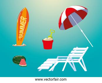 summer vacation travel, umbrella surfboard bucket deck chair and watermelon icons