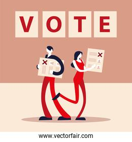 election day, man and owman with voting ballot democracy