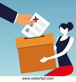 election day, woman holding box and hand with ballot