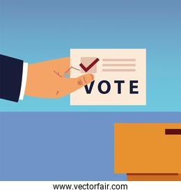 election day, hand with vote ballot and box