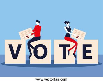 election day, people with vote ballot on vote lettering