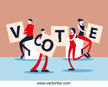 election day, people with vote letters, voting democracy concept