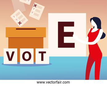 election day, woman with vote word and box with ballots