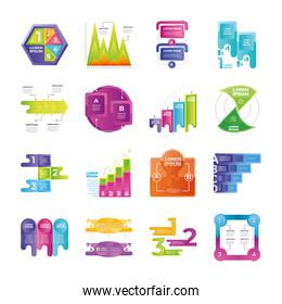 infographic charts, steps, options, presentation, business planning icons