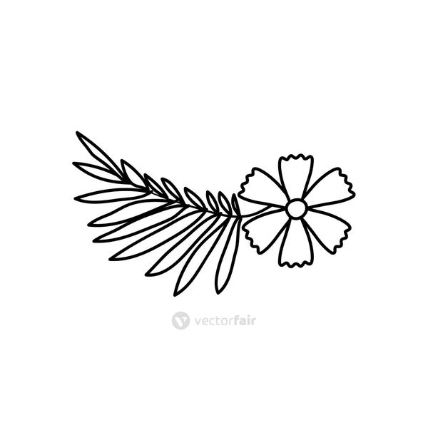 tropical leaf and flower icon, line style
