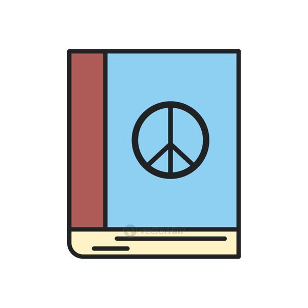 peace and love book line and fill style icon vector design
