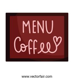 menu coffee shop board isolated icon style